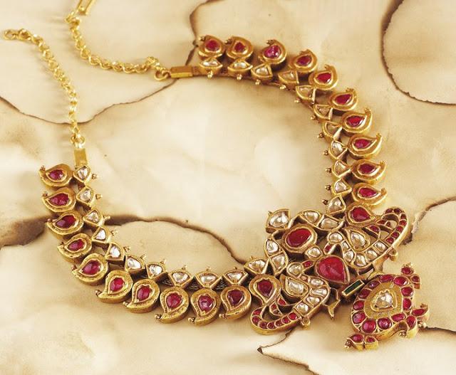 Ruby and Kundan Mango Necklace