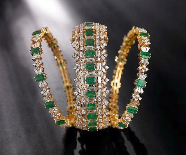 Diamonds and Emeralds Studded Bangles