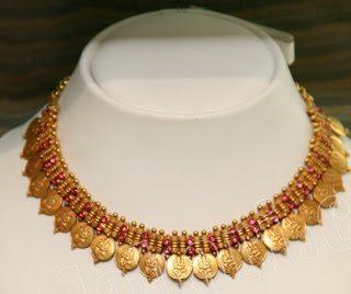 Kasu Necklace Studded with Rubies