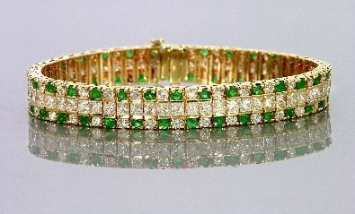 Diamond and Emerald Bracelet