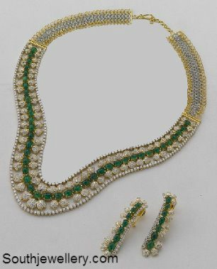 Diamond Necklace Studded With Emeralds