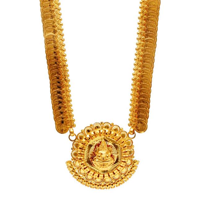 Gold kasu Mala with Lakshmi Pendant