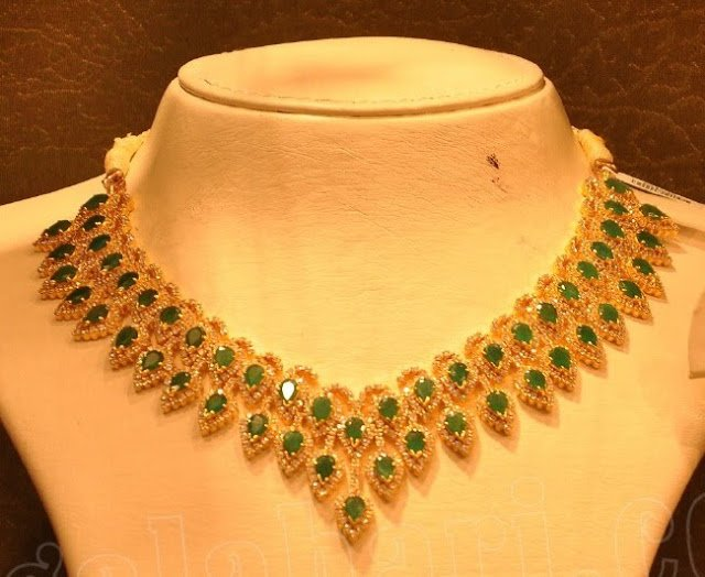 Emeralds and Diamond Necklace by Malabar Gold