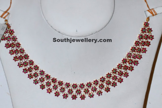 Ruby Necklace Studded with emeralds
