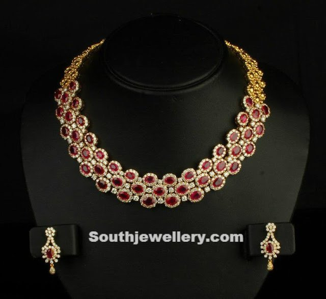 Diamond Necklace studded With Rubies