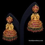 Gold and Gemstone Temple Earrings