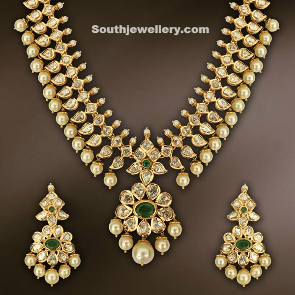earrings uncut indian diamond with jewellery necklace latest pearls designs category jewelry set