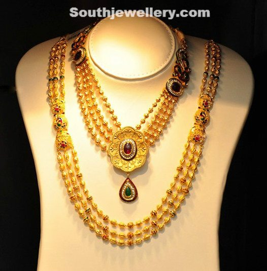 Gold Beaded Necklace and Long Chain