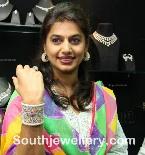 Pinky Reddy in Diamond Bangle and Hoops