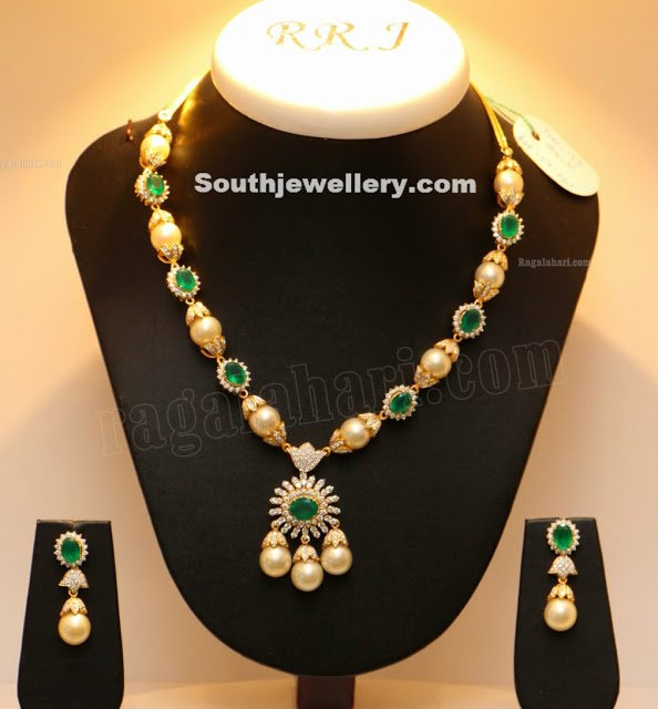 South Sea Pearls and Emerald Necklace