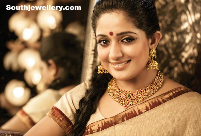 Kavya Madhavan in Ruby Necklace Set