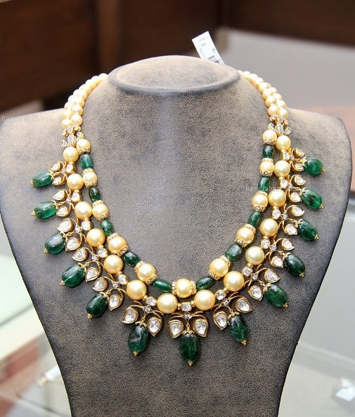 Elegant Pearl and Emerald Necklace