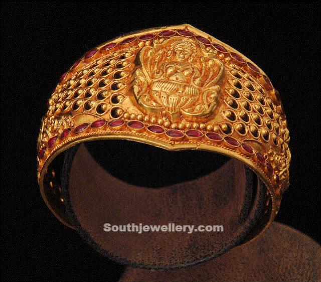 Gold Lakshmi Broad Bangle