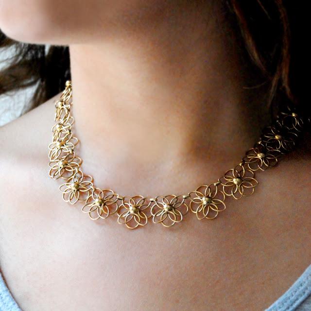 14 Carat Gold Flower Necklace