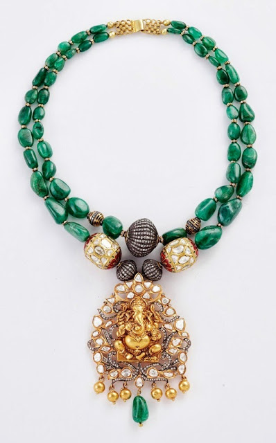 Beautiful Emeralds Necklace with Ganesh Pendant