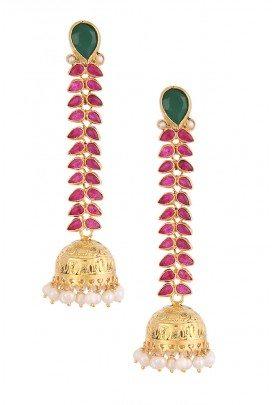 Leaf Jhumki Earrings by Amrapali