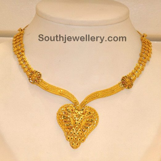 Gold Necklace with Enamel Finish