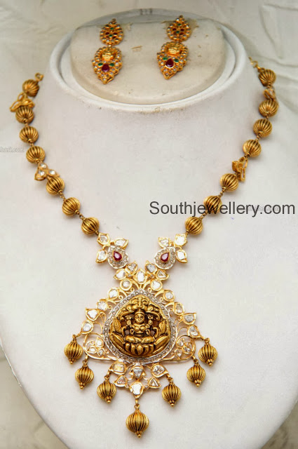 Beaded Necklace with Lakshmi Pendant