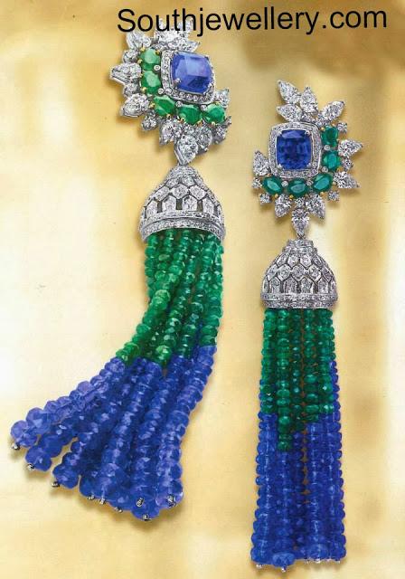 diamond earrings with emeralds