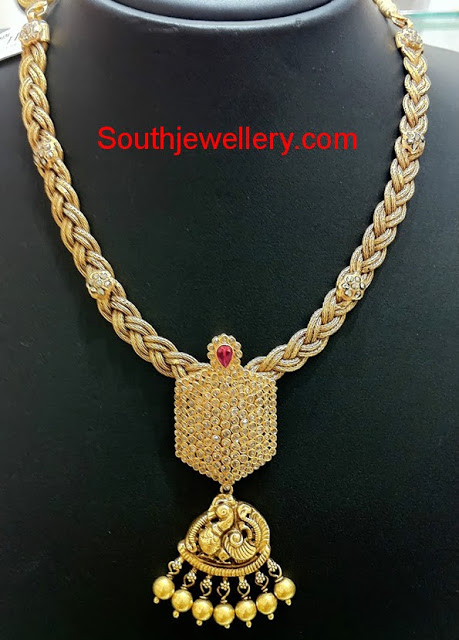 Braided Gold Chain with Diamond and Swan Pendant