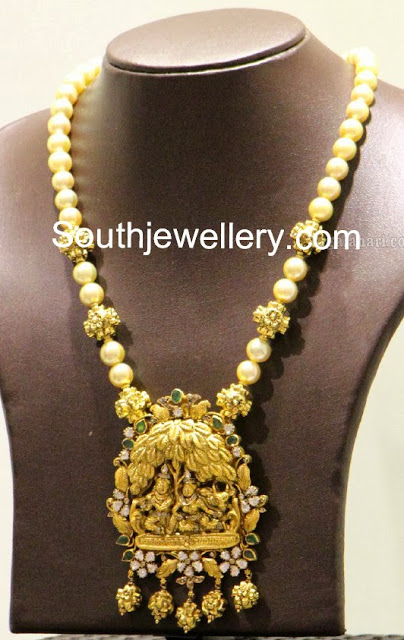 South sea pearls necklace with radha krishna pendant jewellery designs temple jewellery aloadofball Choice Image