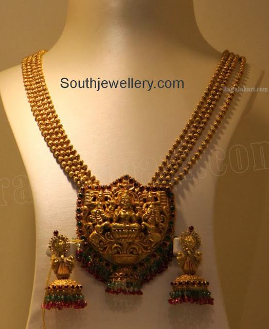 Antique Beaded Gold Haram with Lakshmi Pendant