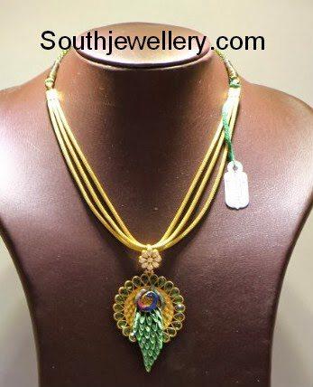 Peacock Pendant with Enamel Work