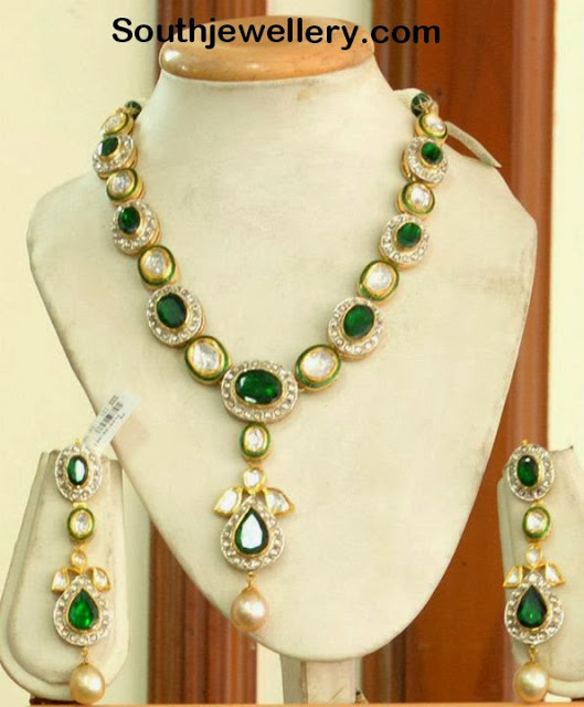 Emerald Necklace with Kundans and Diamonds