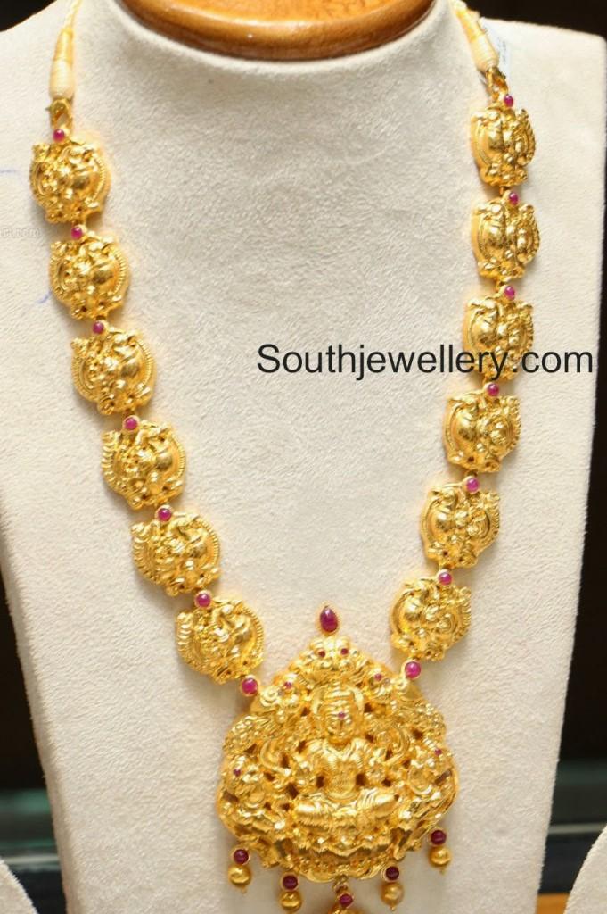 Antique Gold Lakshmi Haram Jewellery Designs