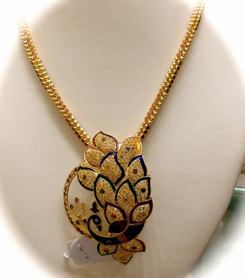 Beautiful 22 carat gold chains with matching pendant designs latest - Gold Chain With Peacock Pendant