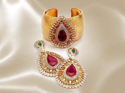 Diamond Kada and Earrings