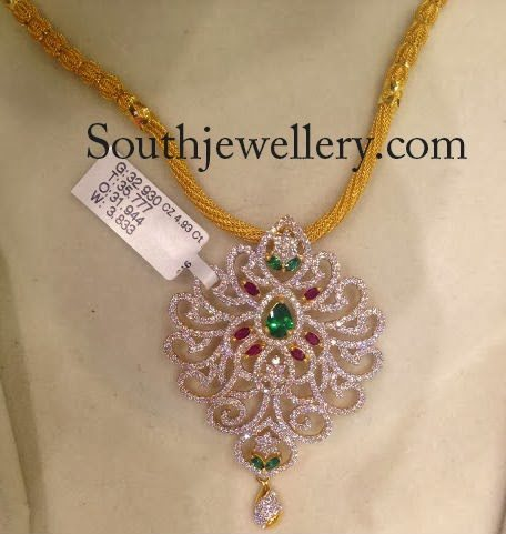 gold necklace with cz pendant