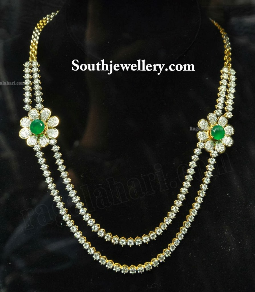 Elegant Diamond Necklace with Emeralds - Jewellery Designs