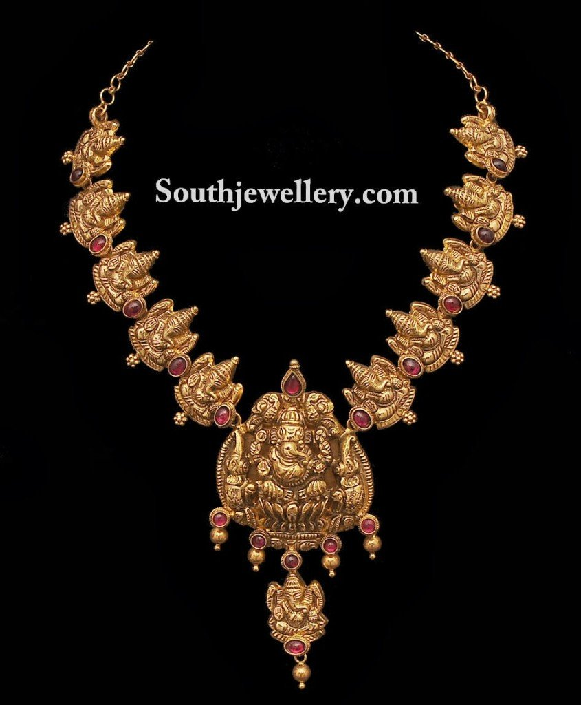 Ganesh temple jewellery necklace jewellery designs ganesh necklace aloadofball Choice Image