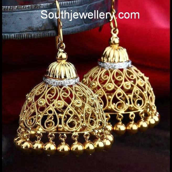 stylish gold jhumkas