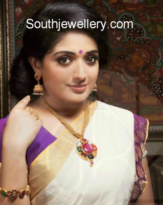 Diamond kasulaperu with pendant - Kavya Madhavan In Gold Necklace With Navratna Pendant