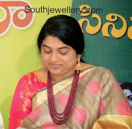 Sailaja Kiran in Ruby Mala and Gold Jhumkas