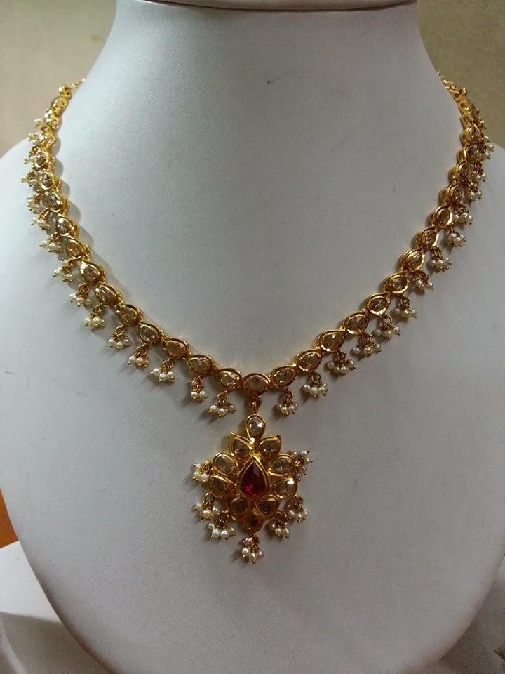 Uncut Diamond Necklace Jewellery Designs