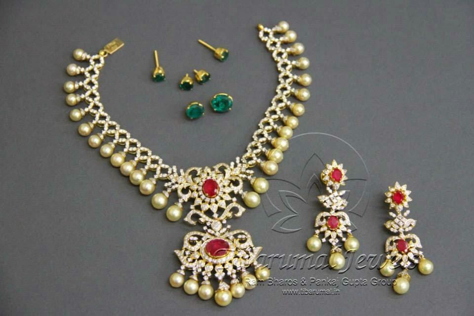 diamond necklace with interchangeable stones