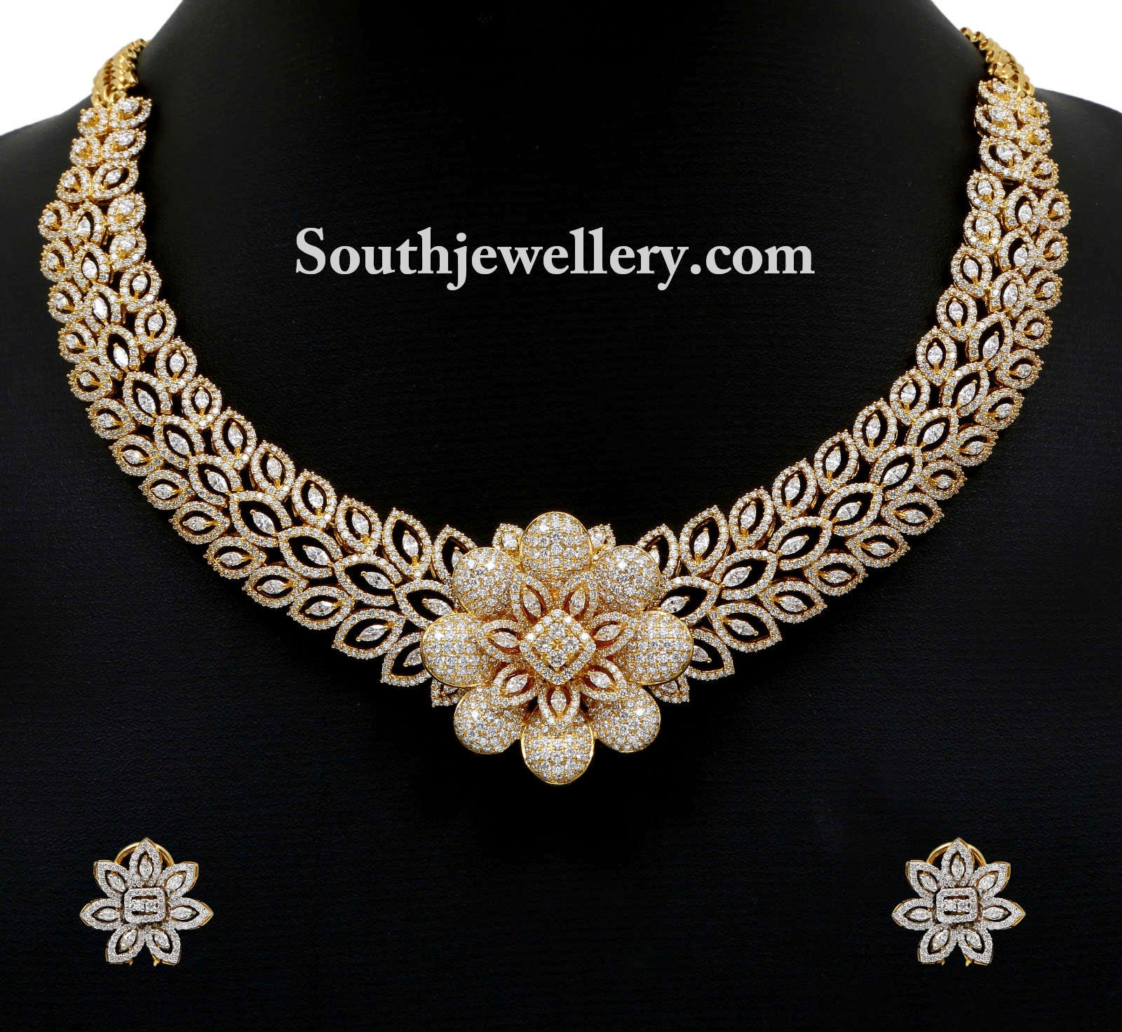 Indian Gold Jewellery Necklace Designs With Price: Astonishing Diamond Necklace By Vummidi Jewellers