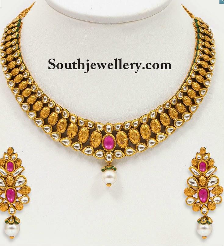 fancy kundan necklace