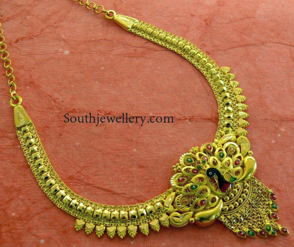20 Grams Traditional Necklace with Peacock Pendant - Jewellery Designs