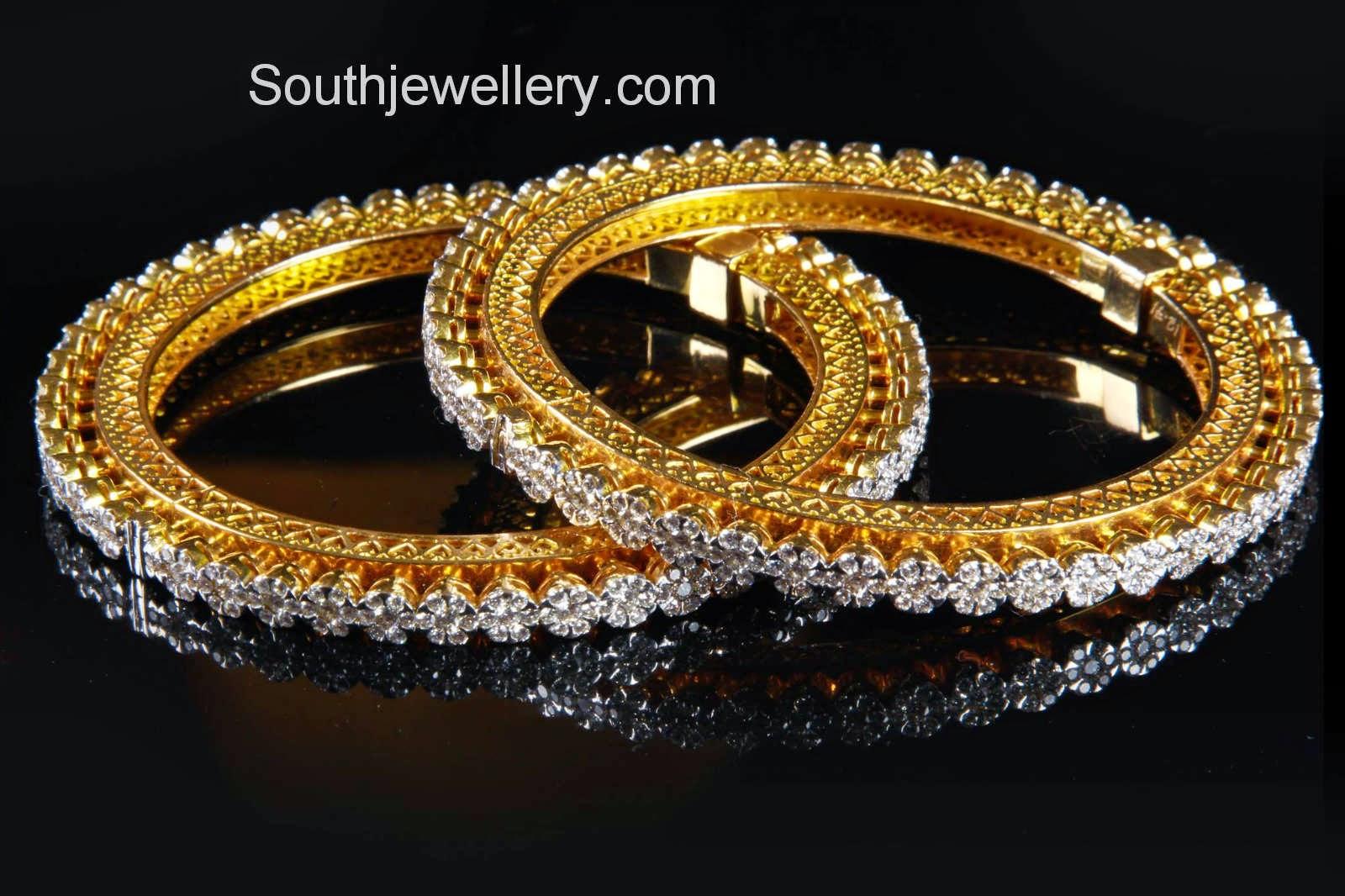 Floral Diamond Bangles Jewellery Designs