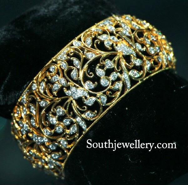 broad diamond bangles jewellery designs