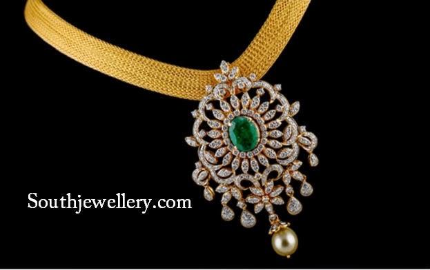 mesh necklace with diamond pendant