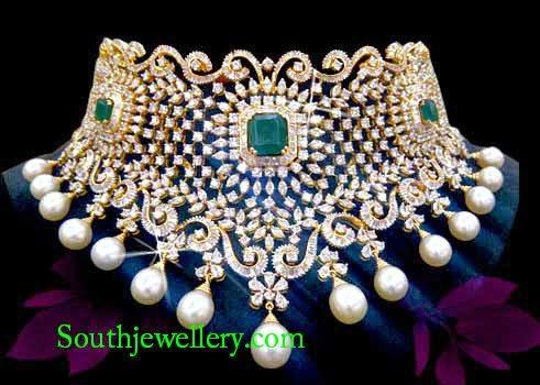 latest designer diamond choker 2014