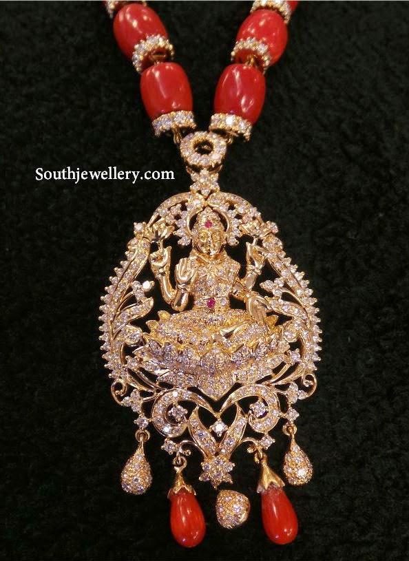 Coral Beads Necklace With Diamond Lakshmi Pendant
