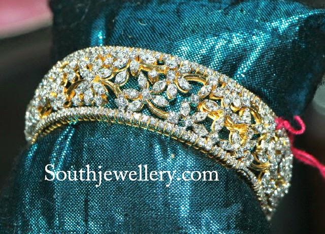 floral design diamond bangles