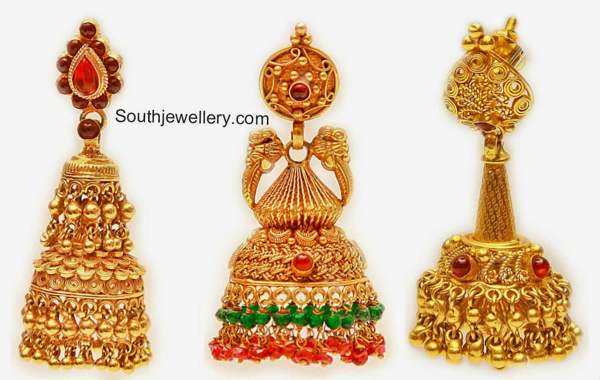 Beautiful Gold Jhumkas Jewellery Designs
