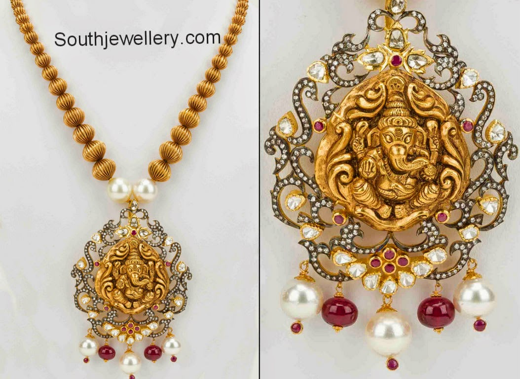 gold balls neclace with ganesh pendant jewellery designs
